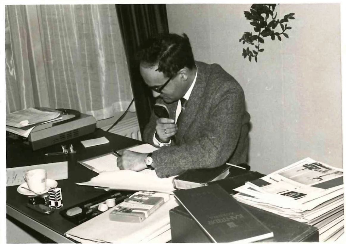 Patent attorney at his desk